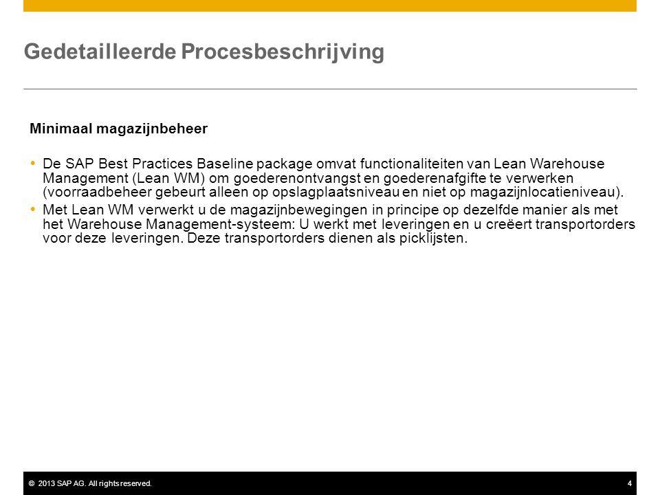©2013 SAP AG. All rights reserved.4 Gedetailleerde Procesbeschrijving Minimaal magazijnbeheer  De SAP Best Practices Baseline package omvat functiona