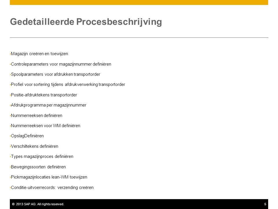 ©2013 SAP AG. All rights reserved.5 Gedetailleerde Procesbeschrijving Magazijn creëren en toewijzen Controleparameters voor magazijnnummer definiëren