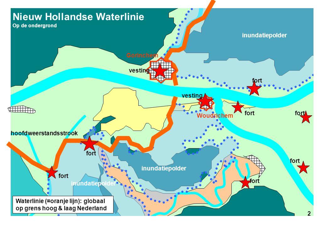 2 Nieuw Hollandse Waterlinie Op de ondergrond inundatiepolder hoofdweerstandsstrook fort 2 vesting Gorinchem Woudrichem Waterlinie (=oranje lijn): glo