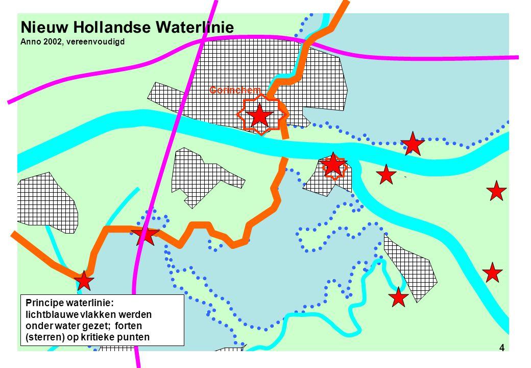 4 Nieuw Hollandse Waterlinie Anno 2002, vereenvoudigd 4 Gorinchem Principe waterlinie: lichtblauwe vlakken werden onder water gezet; forten (sterren)