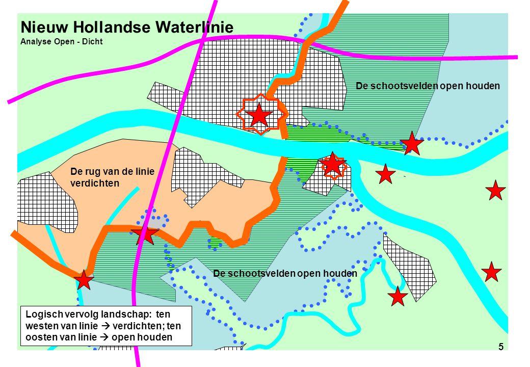 5 Nieuw Hollandse Waterlinie Analyse Open - Dicht De rug van de linie verdichten De schootsvelden open houden 5 Logisch vervolg landschap: ten westen