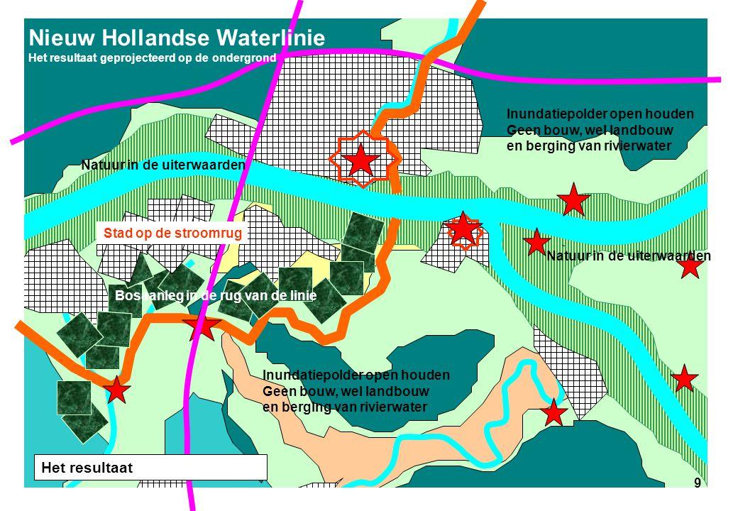 9 Nieuw Hollandse Waterlinie Het resultaat geprojecteerd op de ondergrond Stad op de stroomrug Bosaanleg in de rug van de linie Inundatiepolder open h