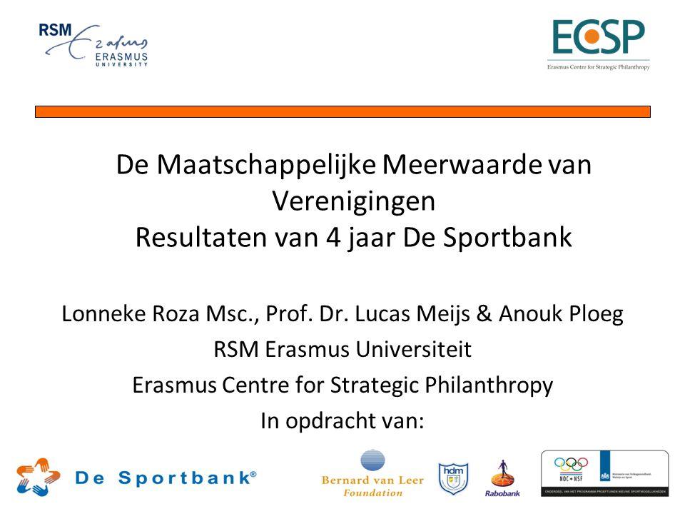 De Maatschappelijke Meerwaarde van Verenigingen Resultaten van 4 jaar De Sportbank Lonneke Roza Msc., Prof. Dr. Lucas Meijs & Anouk Ploeg RSM Erasmus