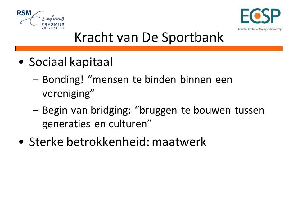 """Kracht van De Sportbank Sociaal kapitaal –Bonding! """"mensen te binden binnen een vereniging"""" –Begin van bridging: """"bruggen te bouwen tussen generaties"""