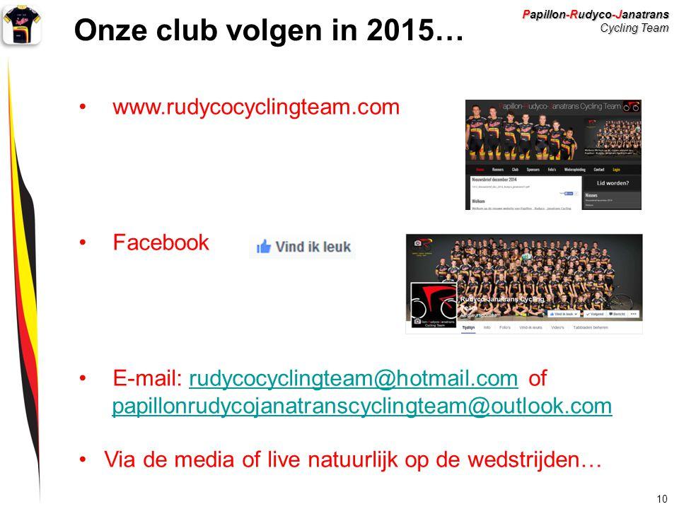 Papillon-Rudyco-Janatrans Cycling Team 10 Onze club volgen in 2015… www.rudycocyclingteam.com Facebook E-mail: rudycocyclingteam@hotmail.com ofrudycoc