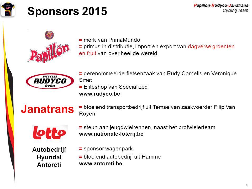 Papillon-Rudyco-Janatrans Cycling Team 4 Sponsors 2015 = merk van PrimaMundo = primus in distributie, import en export van dagverse groenten en fruit