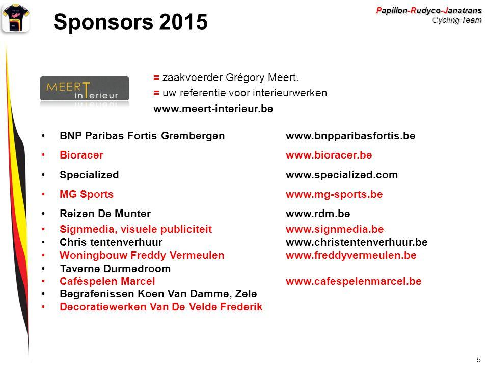 Papillon-Rudyco-Janatrans Cycling Team 5 Sponsors 2015 = zaakvoerder Grégory Meert. = uw referentie voor interieurwerken www.meert-interieur.be BNP Pa