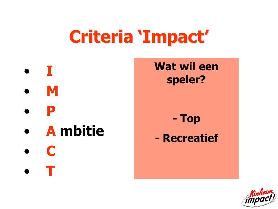 Criteria 'Impact' I M P A mbitie C T Wat wil een speler - Top - Recreatief
