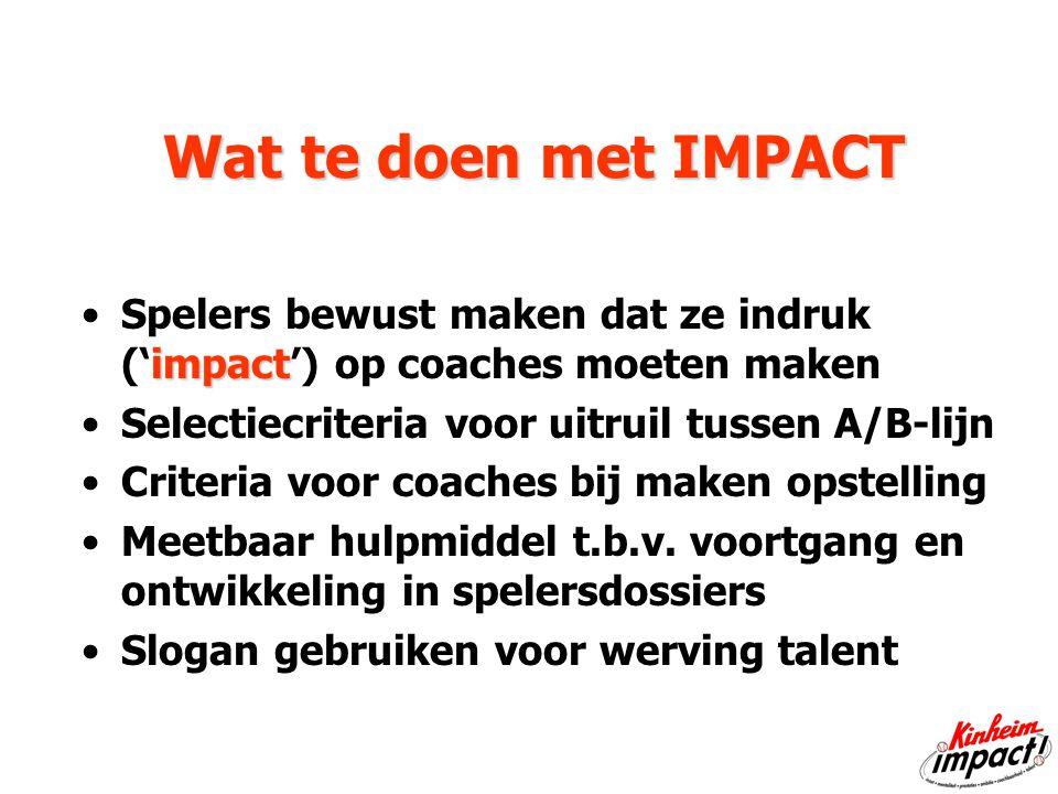 'Impact' staat voor I nzet M entaliteit P restaties A mbitie C oachbaarheid T alent