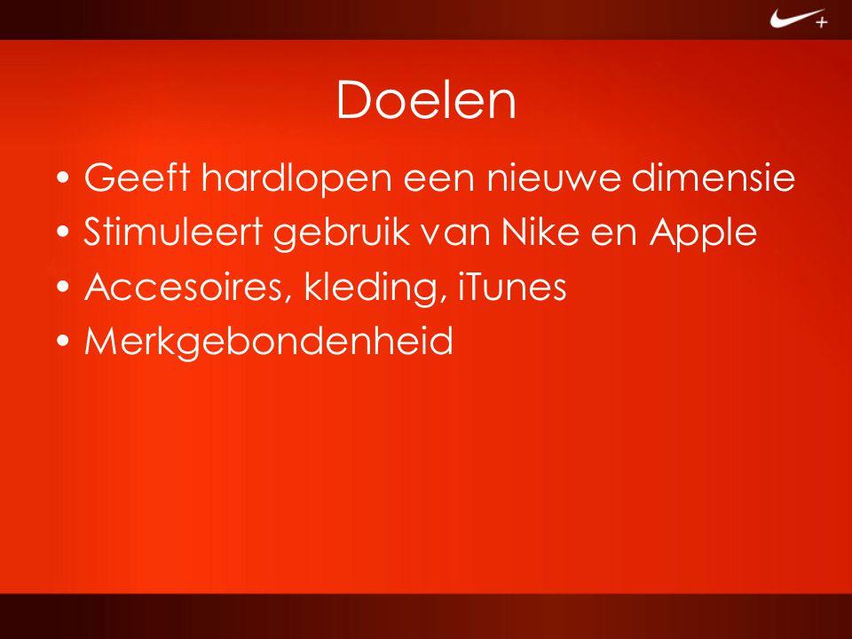 Doelen Geeft hardlopen een nieuwe dimensie Stimuleert gebruik van Nike en Apple Accesoires, kleding, iTunes Merkgebondenheid