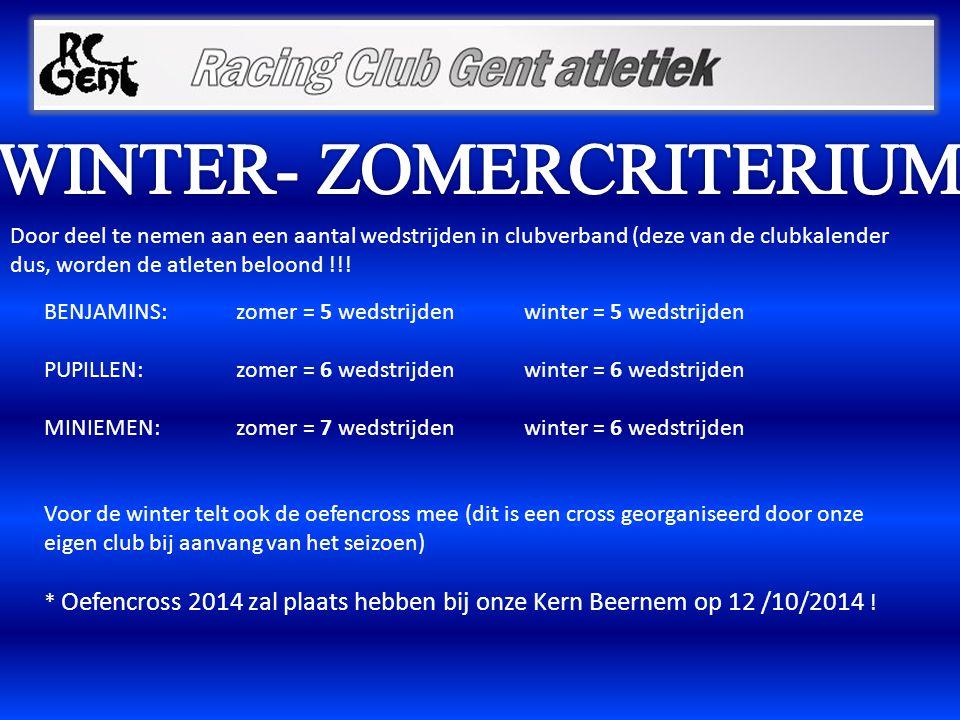 Door deel te nemen aan een aantal wedstrijden in clubverband (deze van de clubkalender dus, worden de atleten beloond !!! BENJAMINS: zomer = 5 wedstri