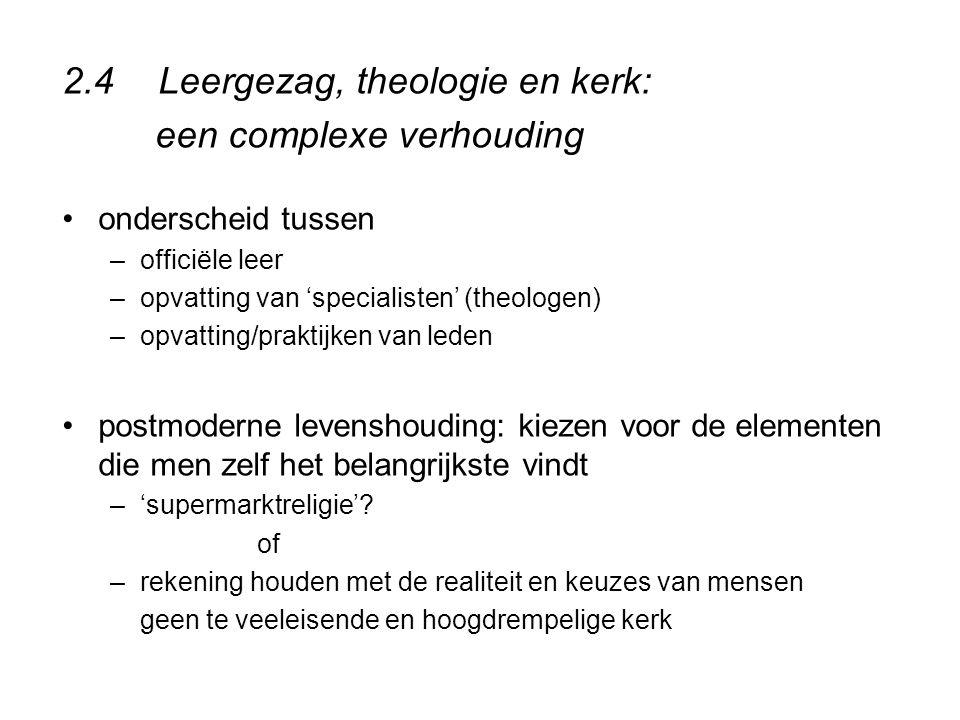 2.4Leergezag, theologie en kerk: een complexe verhouding onderscheid tussen –officiële leer –opvatting van 'specialisten' (theologen) –opvatting/prakt