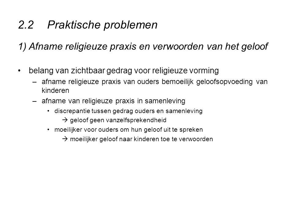 2.2Praktische problemen 1) Afname religieuze praxis en verwoorden van het geloof belang van zichtbaar gedrag voor religieuze vorming –afname religieuz