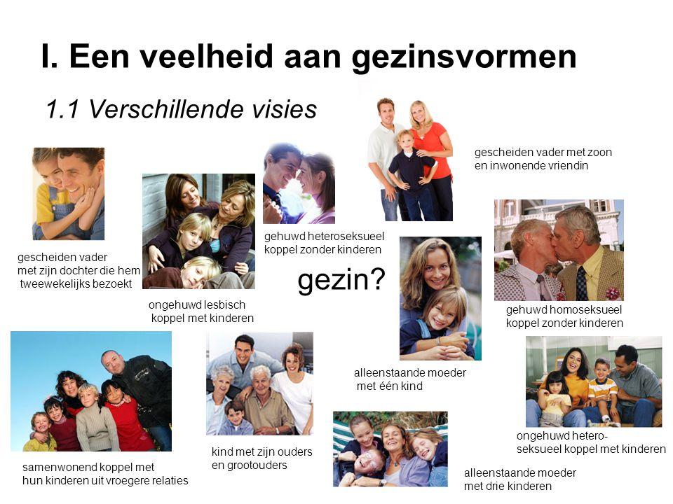 I. Een veelheid aan gezinsvormen gezin? ongehuwd hetero- seksueel koppel met kinderen ongehuwd lesbisch koppel met kinderen gehuwd homoseksueel koppel