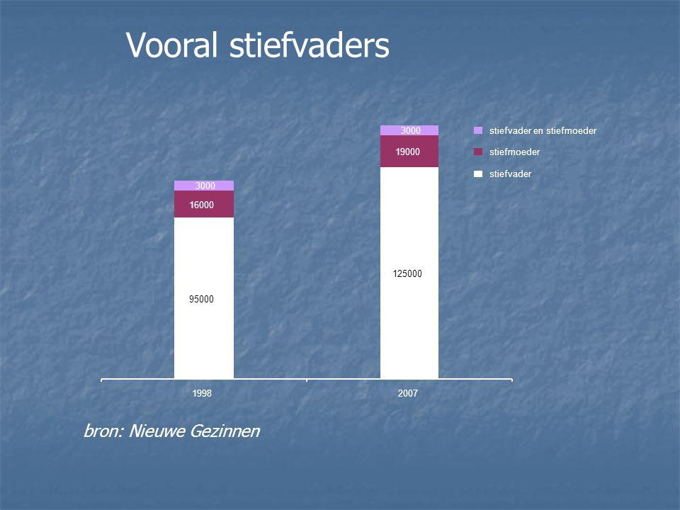 Vooral stiefvaders bron: Nieuwe Gezinnen 95000 125000 16000 19000 19982007 stiefvader en stiefmoeder stiefmoeder stiefvader 3000