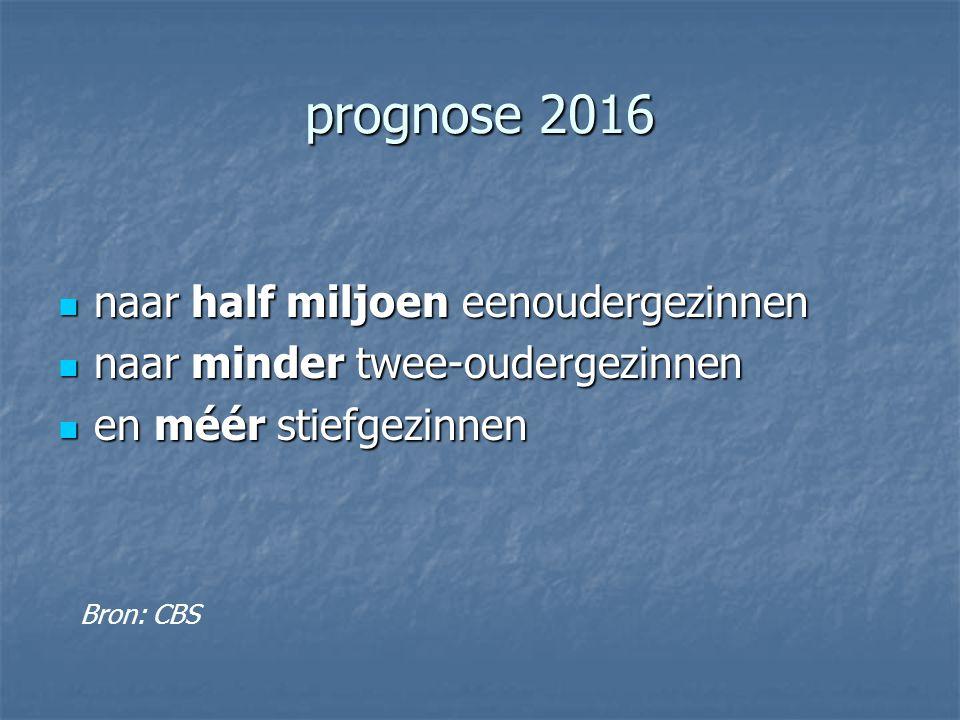 prognose 2016 naar half miljoen eenoudergezinnen naar half miljoen eenoudergezinnen naar minder twee-oudergezinnen naar minder twee-oudergezinnen en méér stiefgezinnen en méér stiefgezinnen Bron: CBS