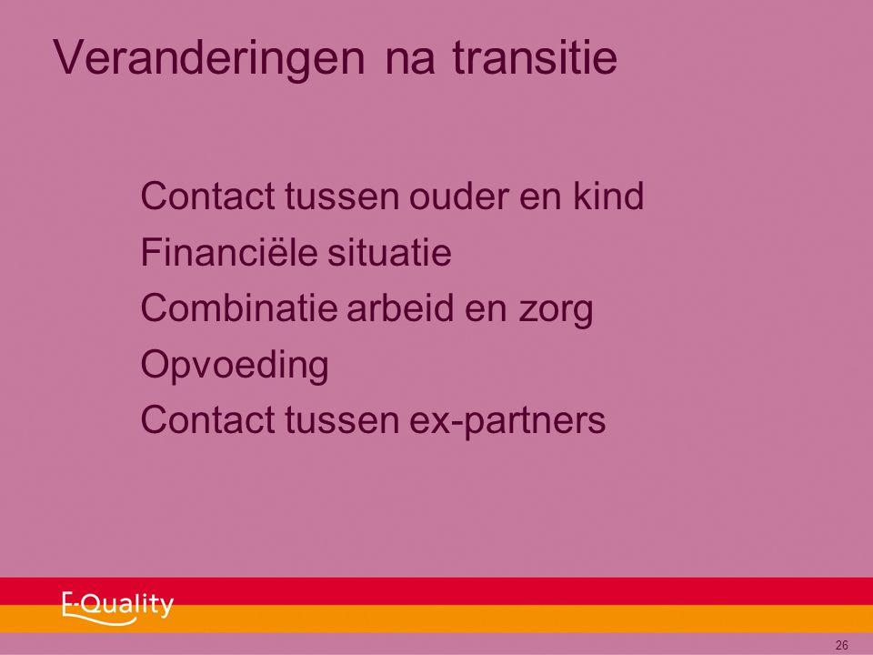 26 Veranderingen na transitie Contact tussen ouder en kind Financiële situatie Combinatie arbeid en zorg Opvoeding Contact tussen ex-partners