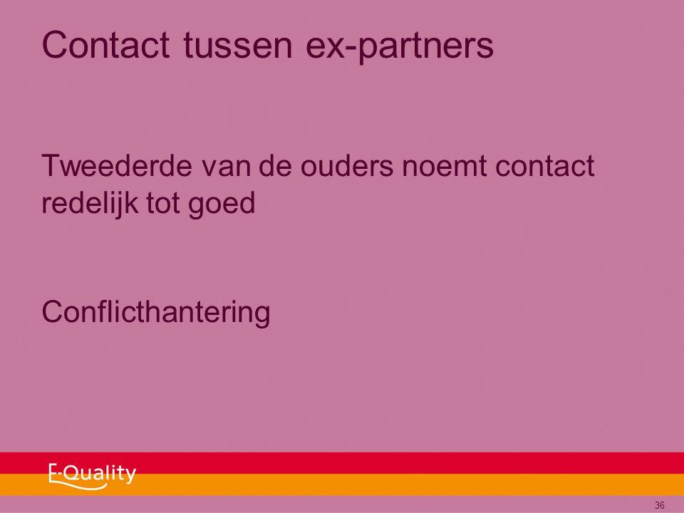 36 Contact tussen ex-partners Tweederde van de ouders noemt contact redelijk tot goed Conflicthantering
