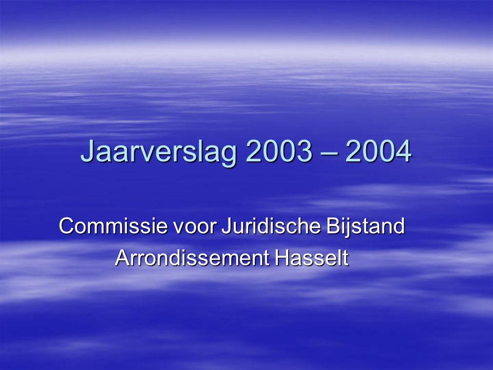 Jaarverslag 2003 – 2004 Commissie voor Juridische Bijstand Arrondissement Hasselt
