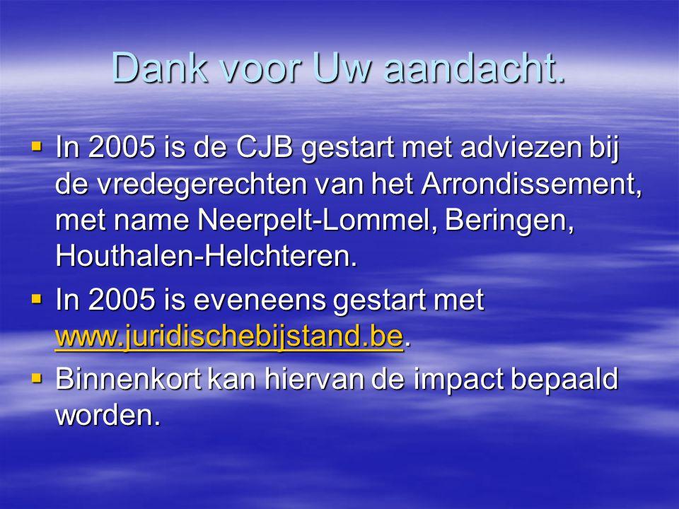 Dank voor Uw aandacht.  In 2005 is de CJB gestart met adviezen bij de vredegerechten van het Arrondissement, met name Neerpelt-Lommel, Beringen, Hout