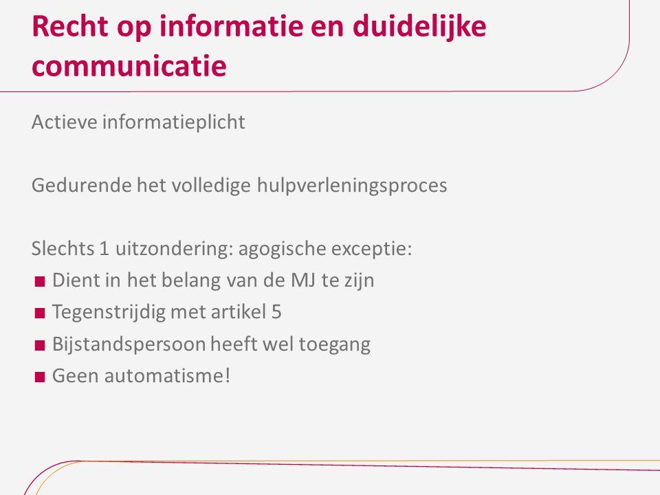 Recht op informatie en duidelijke communicatie Artikel 12 De communicatie met de minderjarige verloopt in een voor hem begrijpelijke taal, afgestemd op zijn leeftijd en maturiteit.