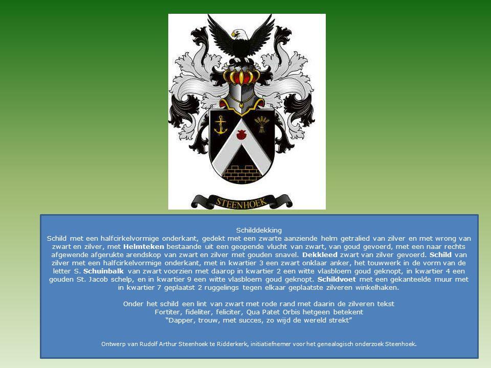 Schilddekking Schild met een halfcirkelvormige onderkant, gedekt met een zwarte aanziende helm getralied van zilver en met wrong van zwart en zilver, met Helmteken bestaande uit een geopende vlucht van zwart, van goud gevoerd, met een naar rechts afgewende afgerukte arendskop van zwart en zilver met gouden snavel.
