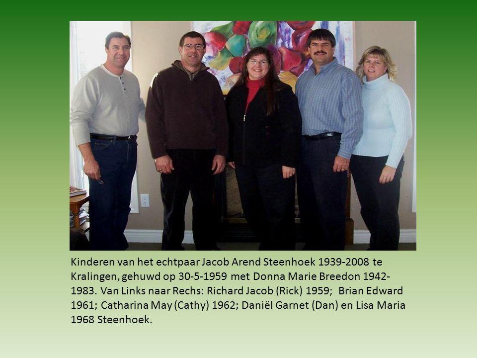 Kinderen van het echtpaar Jacob Arend Steenhoek 1939-2008 te Kralingen, gehuwd op 30-5-1959 met Donna Marie Breedon 1942- 1983.