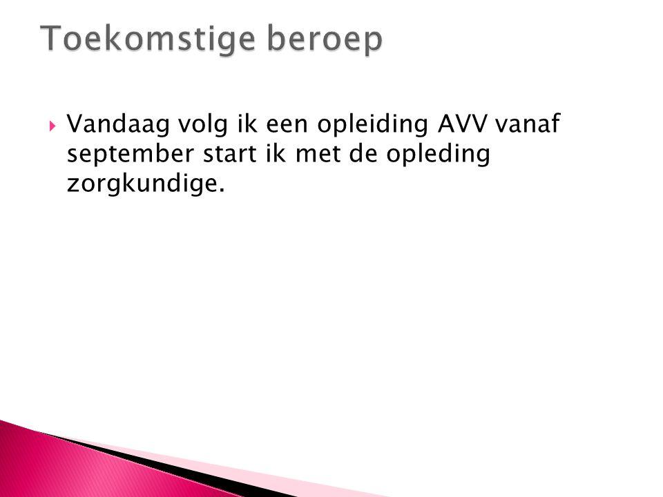  Vandaag volg ik een opleiding AVV vanaf september start ik met de opleding zorgkundige.