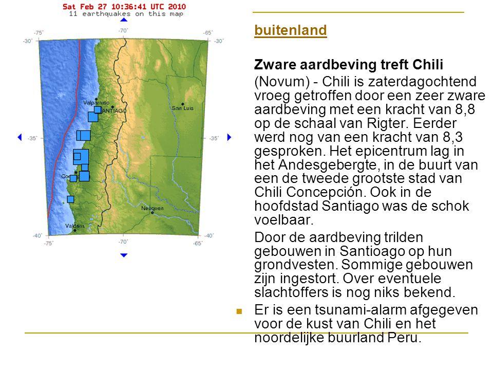 buitenland Zware aardbeving treft Chili (Novum) - Chili is zaterdagochtend vroeg getroffen door een zeer zware aardbeving met een kracht van 8,8 op de schaal van Rigter.