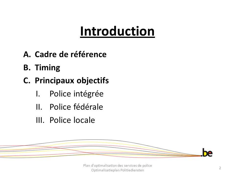 Introduction A.Cadre de référence B.Timing C.Principaux objectifs I.Police intégrée II.Police fédérale III.Police locale Plan d'optimalisation des ser