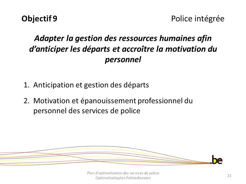 Objectif 9Police intégrée Adapter la gestion des ressources humaines afin d'anticiper les départs et accroître la motivation du personnel 1.Anticipati