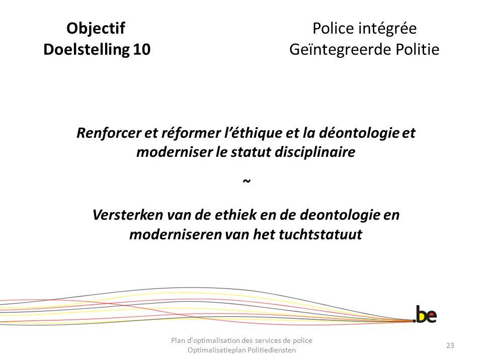 ObjectifPolice intégrée Doelstelling 10Geïntegreerde Politie Renforcer et réformer l'éthique et la déontologie et moderniser le statut disciplinaire ~