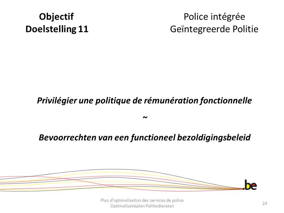 ObjectifPolice intégrée Doelstelling 11Geïntegreerde Politie Privilégier une politique de rémunération fonctionnelle ~ Bevoorrechten van een functione