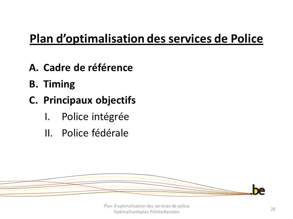 Plan d'optimalisation des services de Police A.Cadre de référence B.Timing C.Principaux objectifs I.Police intégrée II.Police fédérale Plan d'optimali
