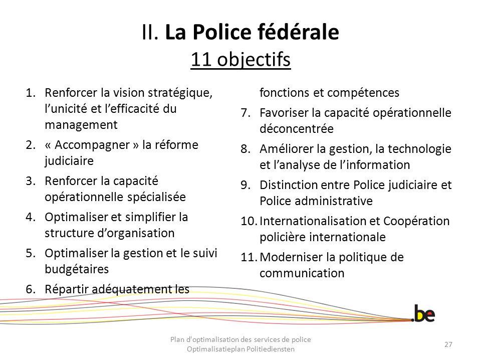 II. La Police fédérale 11 objectifs 1.Renforcer la vision stratégique, l'unicité et l'efficacité du management 2.« Accompagner » la réforme judiciaire