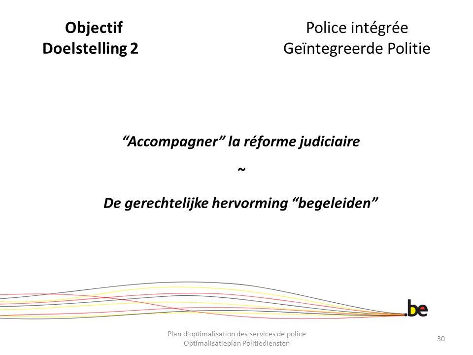 """ObjectifPolice intégrée Doelstelling 2Geïntegreerde Politie """"Accompagner"""" la réforme judiciaire ~ De gerechtelijke hervorming """"begeleiden"""" Plan d'opti"""