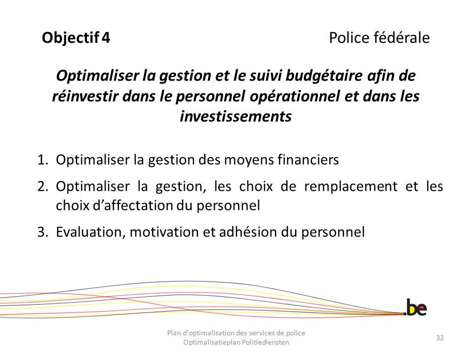 Objectif 4Police fédérale Optimaliser la gestion et le suivi budgétaire afin de réinvestir dans le personnel opérationnel et dans les investissements
