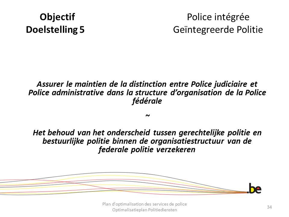 ObjectifPolice intégrée Doelstelling 5Geïntegreerde Politie Assurer le maintien de la distinction entre Police judiciaire et Police administrative dan