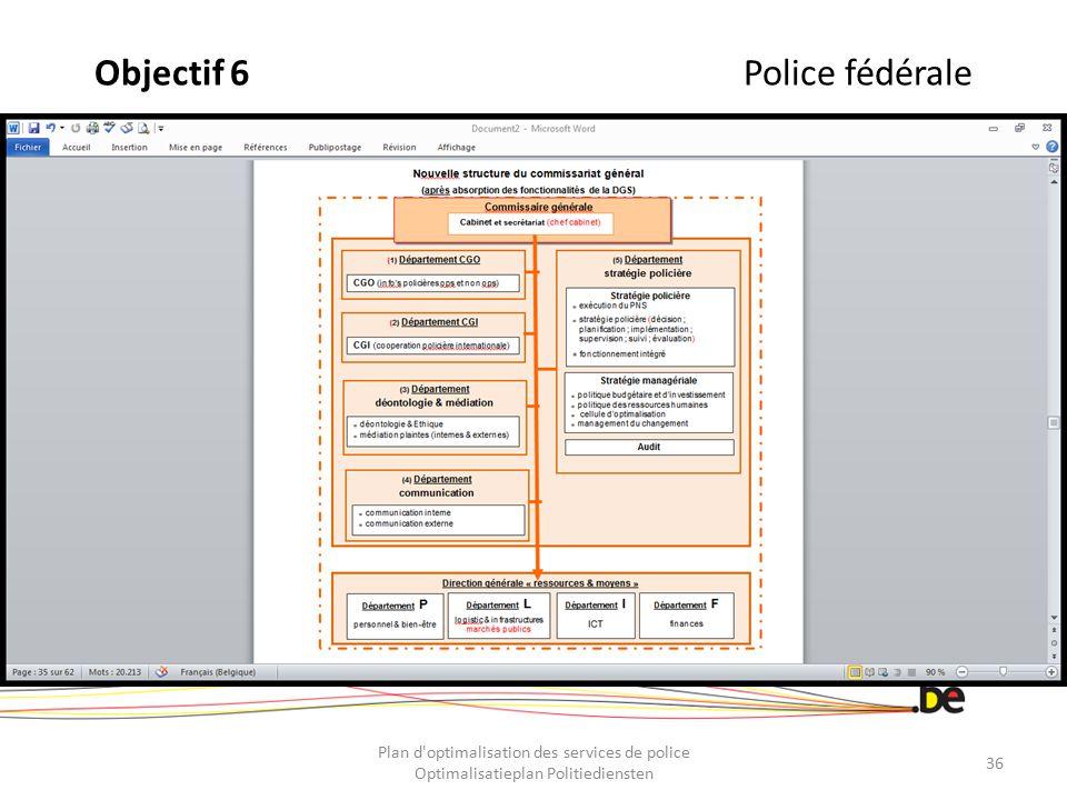 Objectif 6Police fédérale Plan d'optimalisation des services de police Optimalisatieplan Politiediensten 36