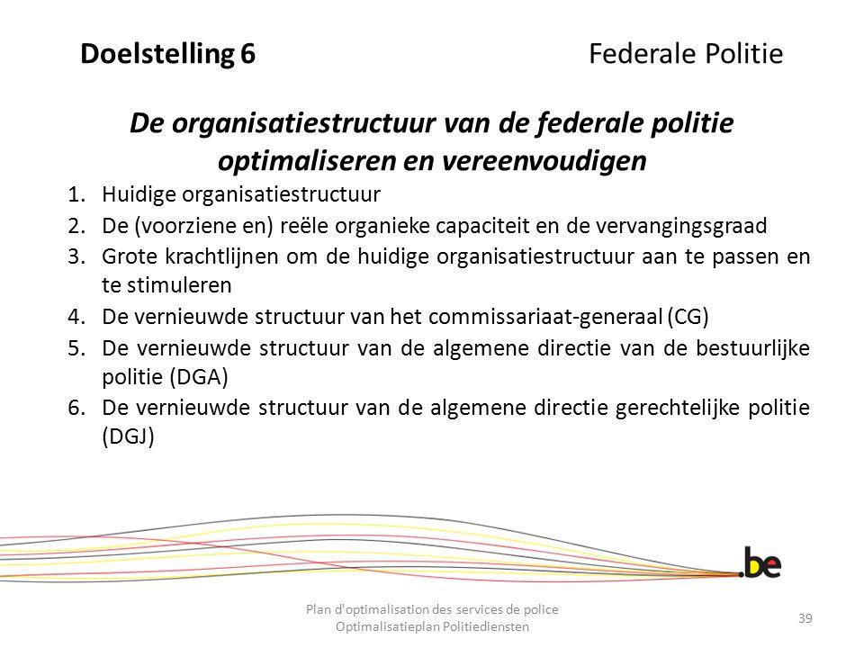 Doelstelling 6Federale Politie De organisatiestructuur van de federale politie optimaliseren en vereenvoudigen 1.Huidige organisatiestructuur 2.De (vo