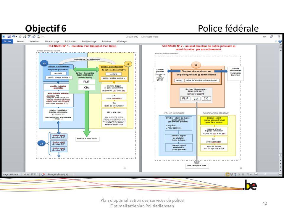 Objectif 6Police fédérale Plan d'optimalisation des services de police Optimalisatieplan Politiediensten 42