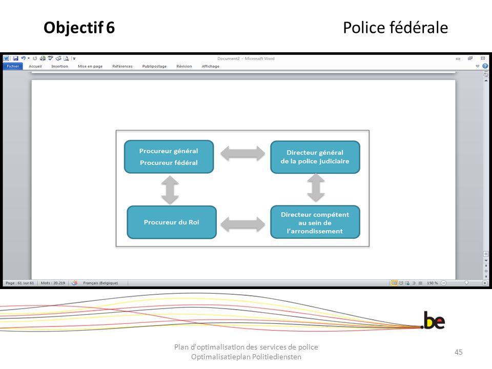 Objectif 6Police fédérale Plan d'optimalisation des services de police Optimalisatieplan Politiediensten 45