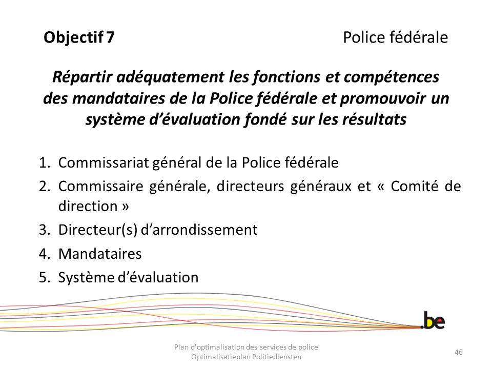 Objectif 7Police fédérale Répartir adéquatement les fonctions et compétences des mandataires de la Police fédérale et promouvoir un système d'évaluati