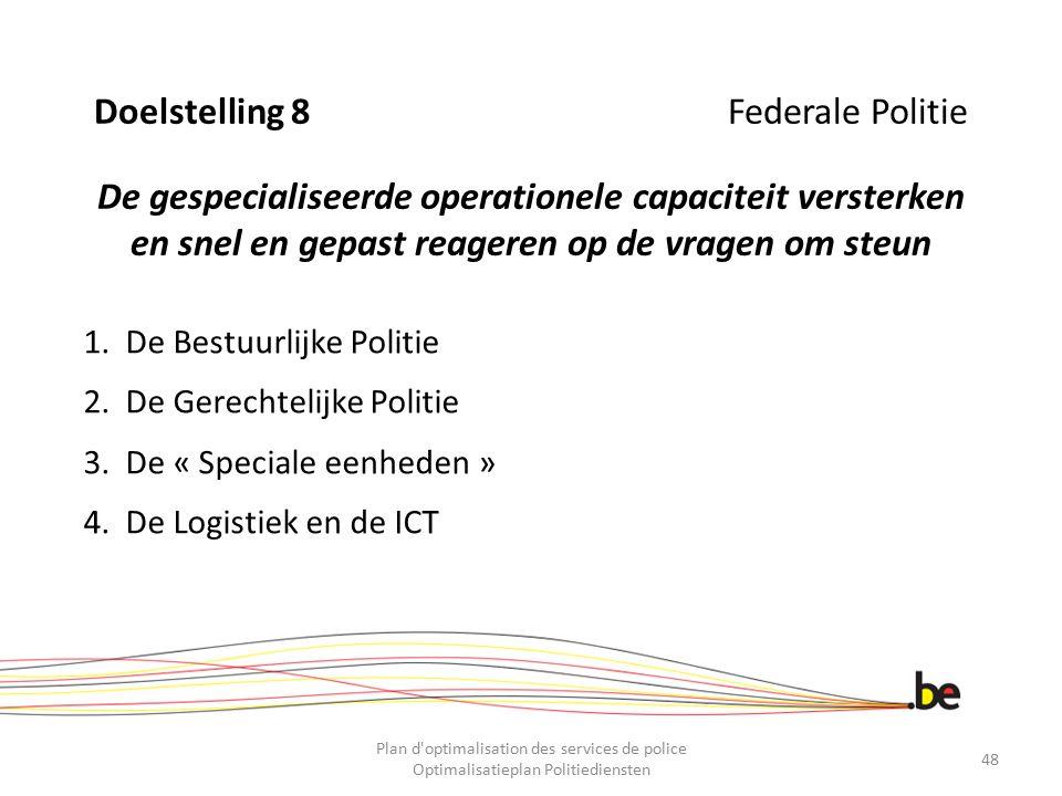 Doelstelling 8 Federale Politie De gespecialiseerde operationele capaciteit versterken en snel en gepast reageren op de vragen om steun 1.De Bestuurli