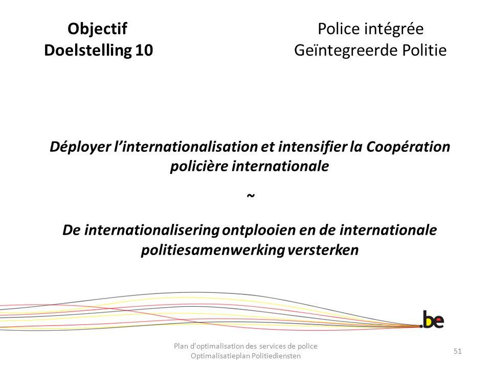 ObjectifPolice intégrée Doelstelling 10Geïntegreerde Politie Déployer l'internationalisation et intensifier la Coopération policière internationale ~