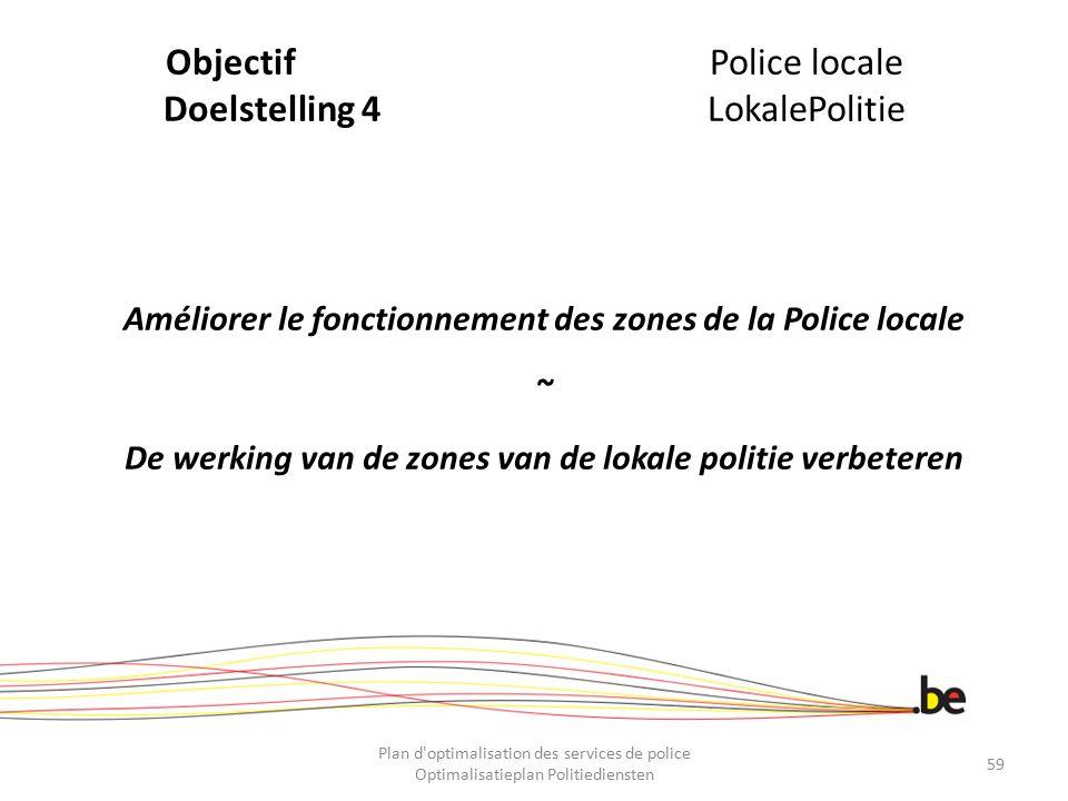 ObjectifPolice locale Doelstelling 4LokalePolitie Améliorer le fonctionnement des zones de la Police locale ~ De werking van de zones van de lokale po