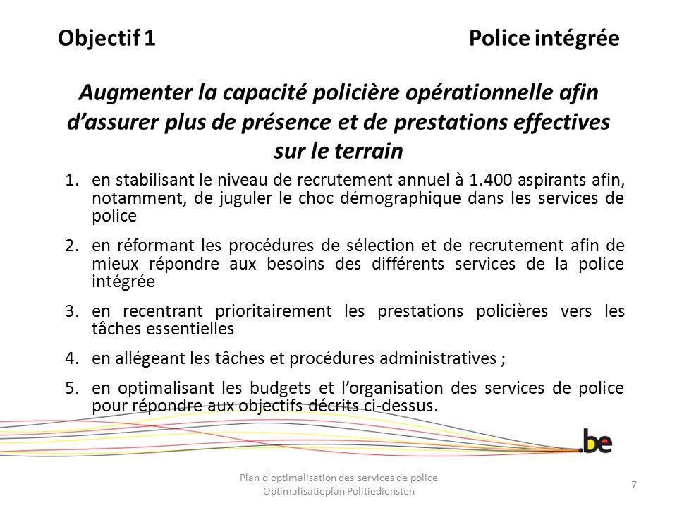 ObjectifPolice locale Doelstelling 3LokalePolitie Renforcer la capacité de financement des zones de la Police locale ~ De financieringscapaciteit van de zones van de lokale politie versterken Plan d optimalisation des services de police Optimalisatieplan Politiediensten 58