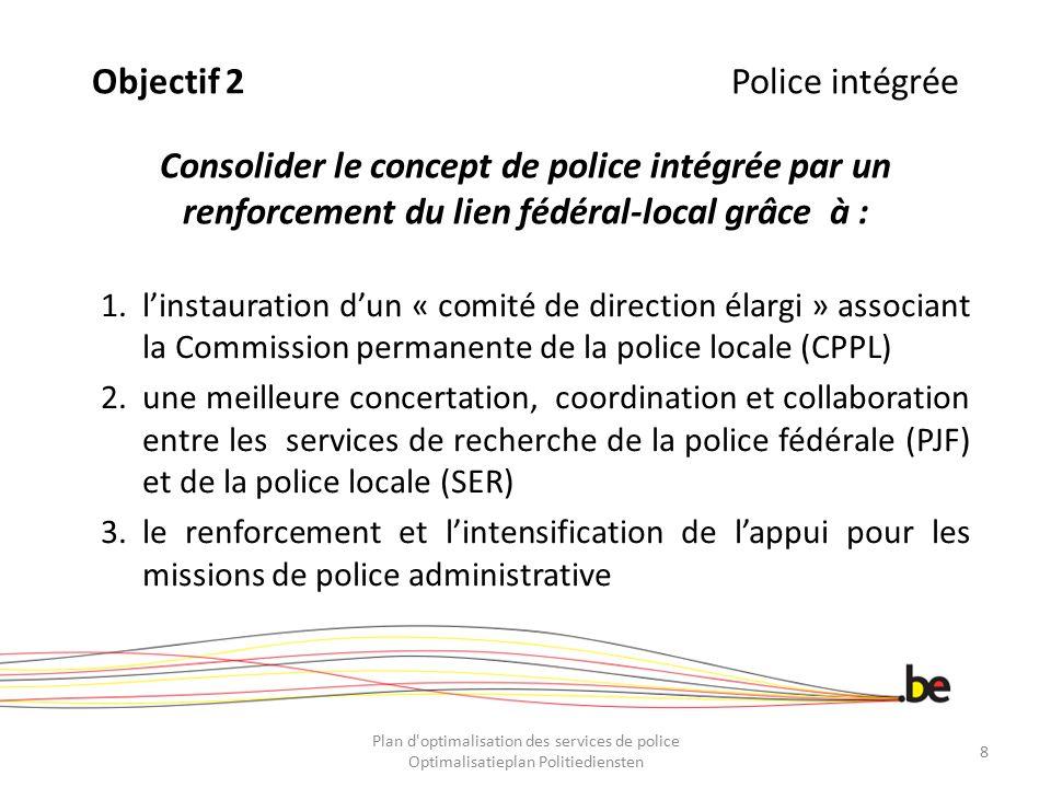 Doelstelling 2Geïntegreerde Politie Consolideren van het concept geïntegreerde politie door een sterkere band tussen het federale en lokale niveau dankzij: 1.de oprichting van een «Uitgebreid directiecomité» waarbij de VCLP betrokken is 2.de versterking van de samenwerking, de coördinatie en het overleg tussen de opsporingsdiensten van de federale politie en van de lokale politie 3.de versterking en de intensifiëring van de steun voor de missies van de bestuurlijke politie Plan d optimalisation des services de police Optimalisatieplan Politiediensten 9