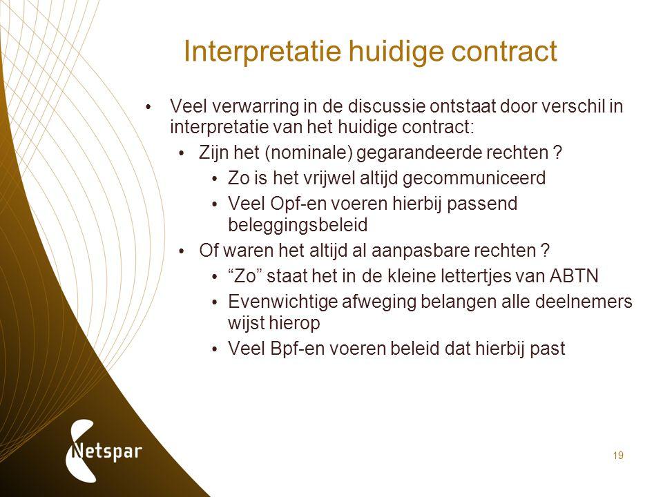 19 Interpretatie huidige contract Veel verwarring in de discussie ontstaat door verschil in interpretatie van het huidige contract: Zijn het (nominale
