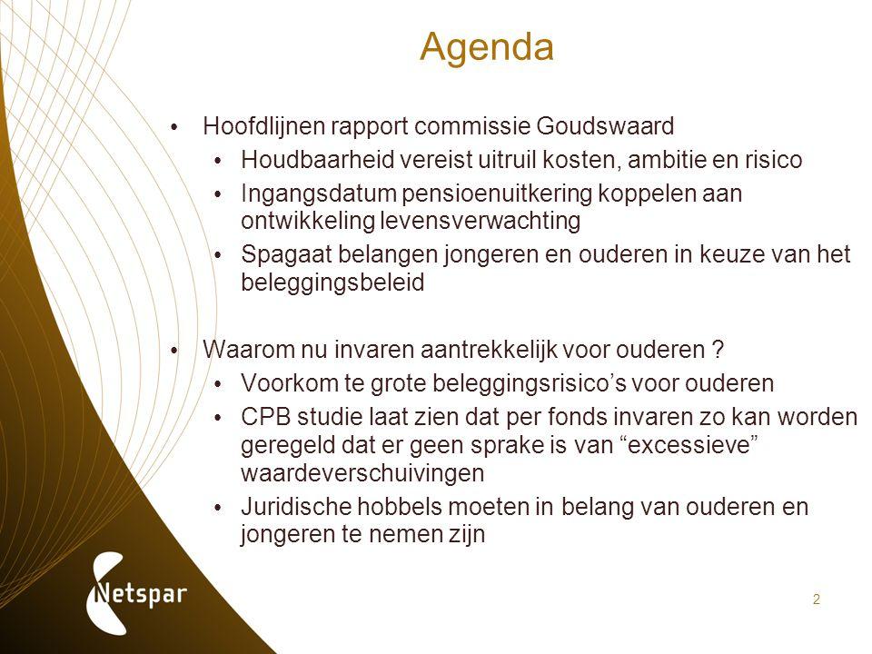 2 Agenda Hoofdlijnen rapport commissie Goudswaard Houdbaarheid vereist uitruil kosten, ambitie en risico Ingangsdatum pensioenuitkering koppelen aan o